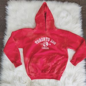 Toronto Zoo bleach dyed red hoodie sweater